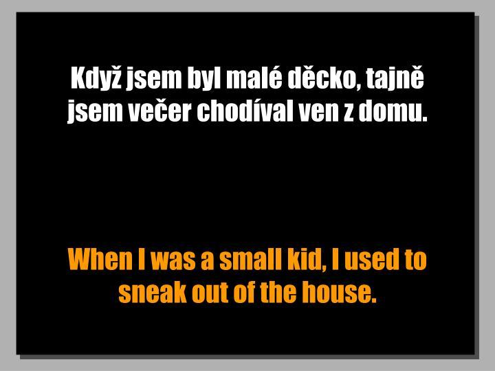 Když jsem byl malé děcko, tajně jsem večer chodíval ven z domu.