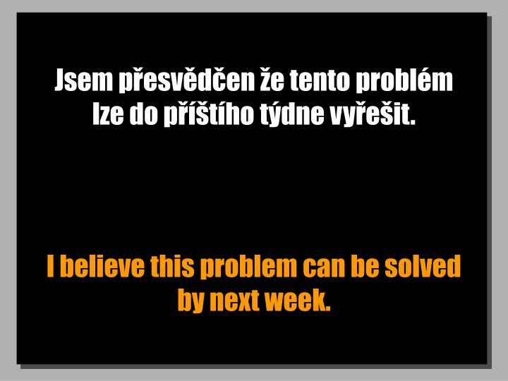 Jsem přesvědčen že tento problém lze do příštího týdne vyřešit.