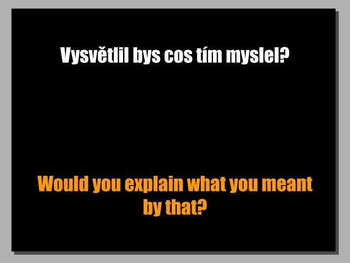 Vysvětlil bys cos tím myslel?