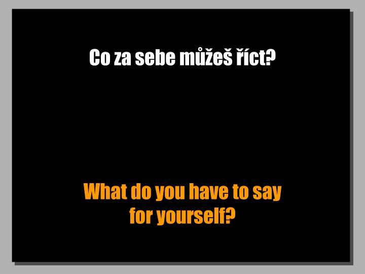 Co za sebe můžeš říct?
