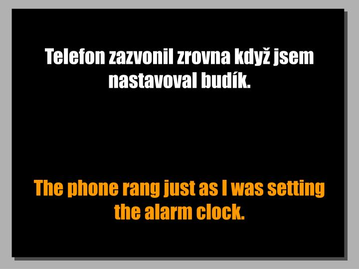 Telefon zazvonil zrovna když jsem nastavoval budík.
