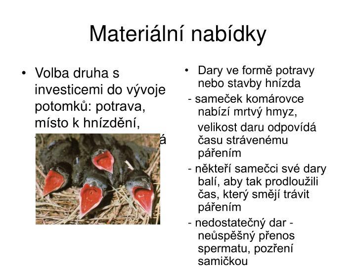 Volba druha s investicemi do vývoje potomků: potrava, místo k hnízdění, teritorium, rodičovská péče