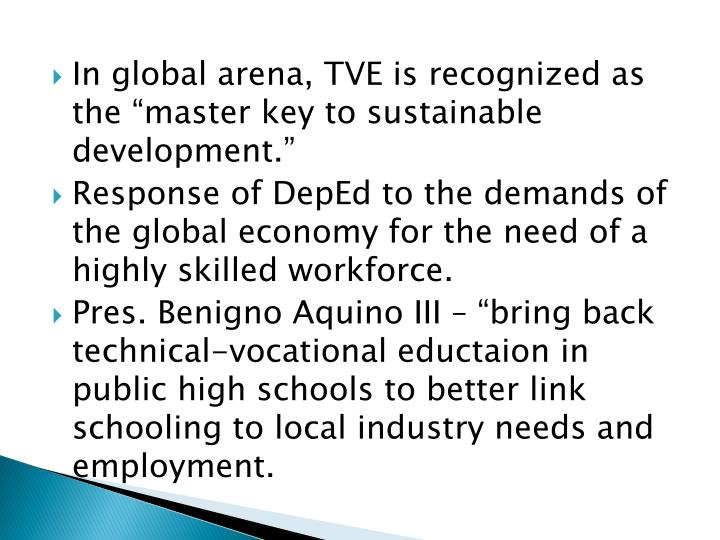 "In global arena, TVE is recognized as the ""master key to sustainable development."""