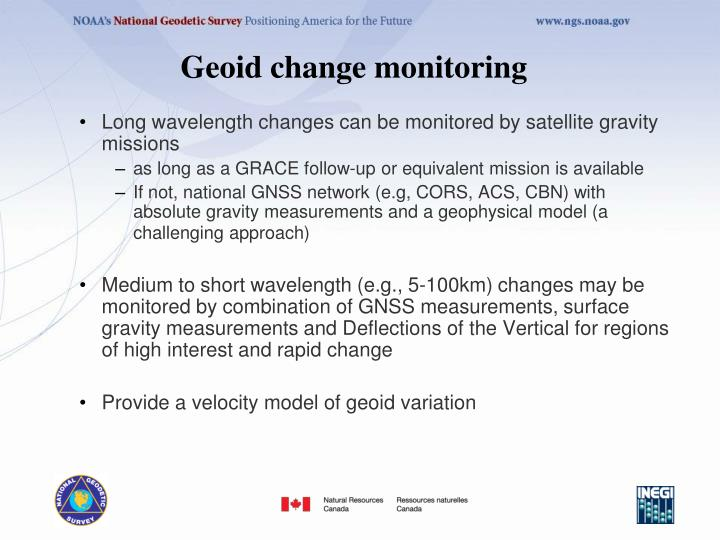 Geoid change monitoring