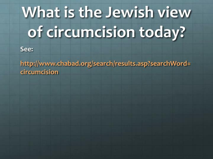 What is the Jewish view of circumcision today?