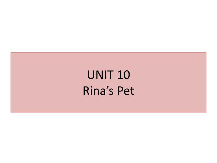 Unit 10 rina s pet