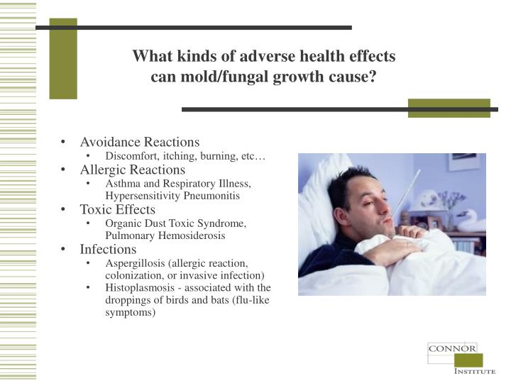 What kinds of adverse health effects can mold/fungal growth cause?