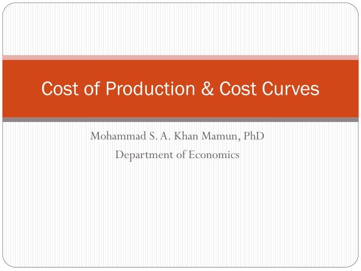 cost of production cost curves