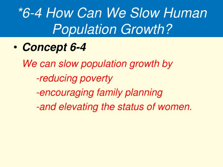 *6-4 How Can We Slow Human Population Growth?