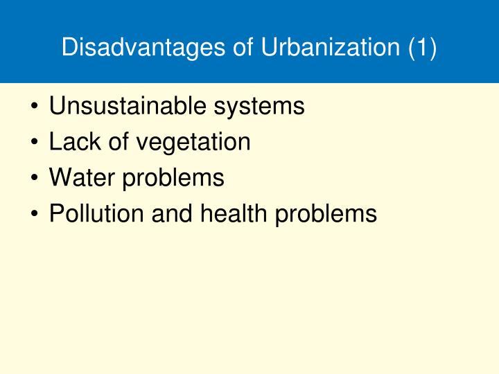 Disadvantages of Urbanization (1)
