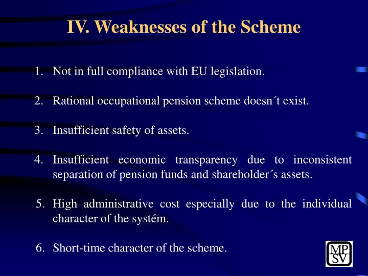 IV. Weaknesses of the Scheme