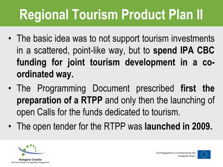 Regional Tourism Product Plan
