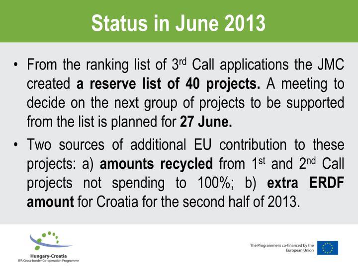 Status in June 2013