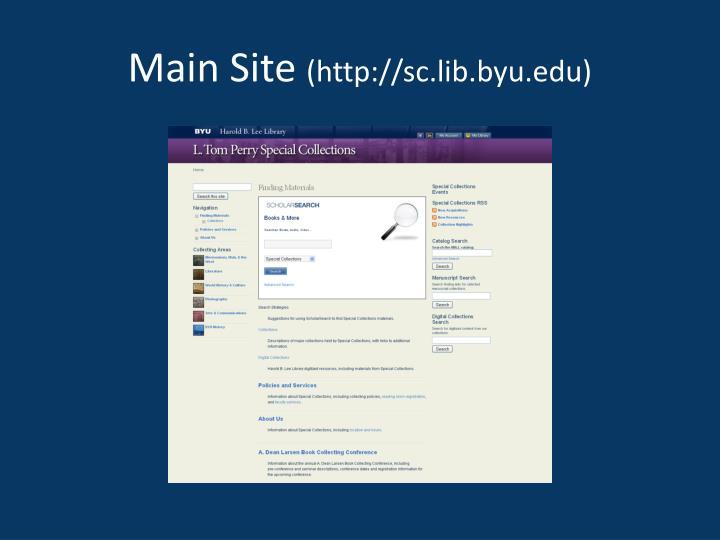 Main site http sc lib byu edu