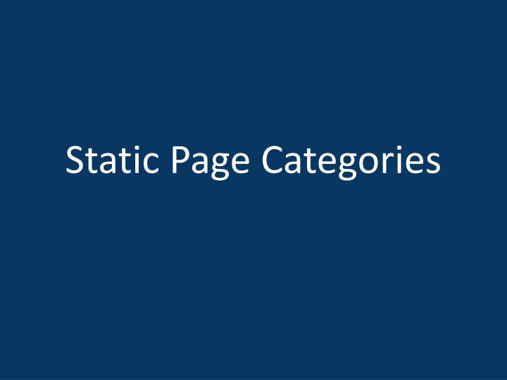 Static Page Categories
