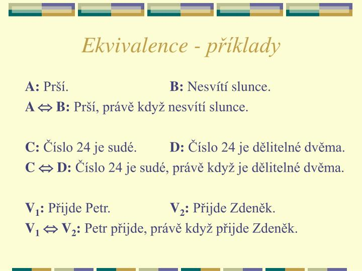 Ekvivalence p klady
