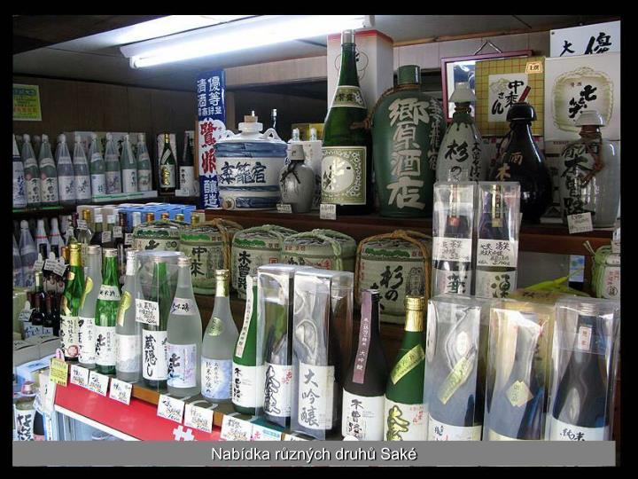 Nabídka různých druhů Saké