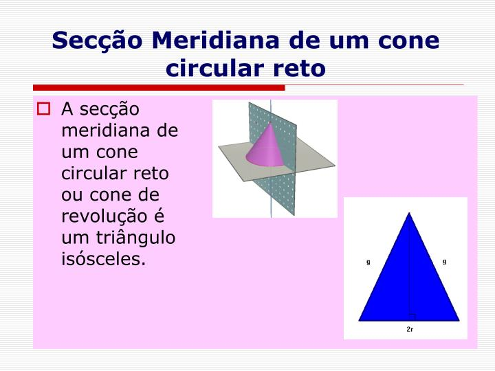 Secção Meridiana de um cone circular reto
