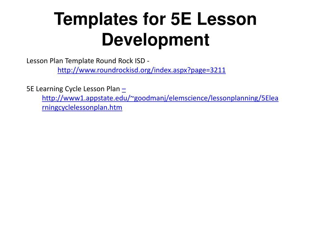 ppt - templates for 5e lesson development powerpoint presentation