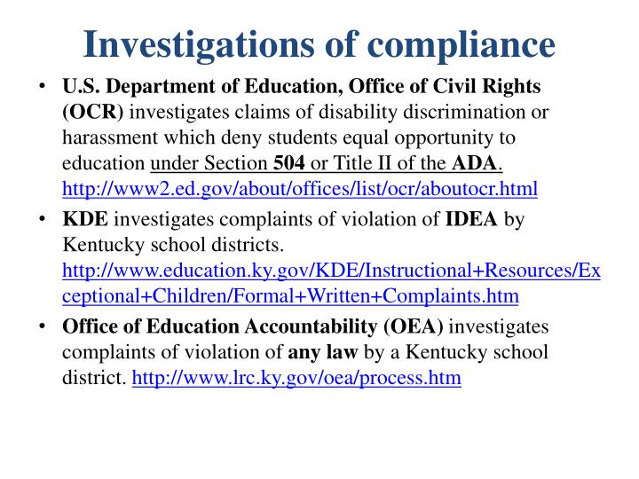Investigations of compliance