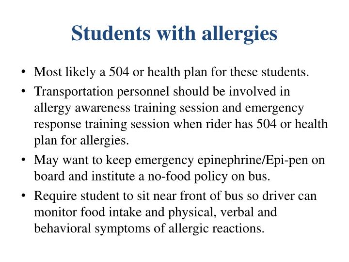 Students with allergies