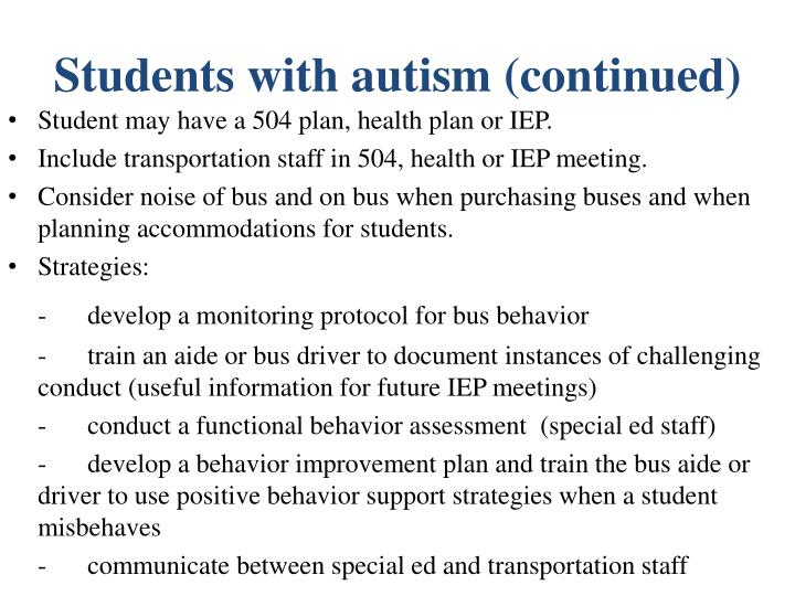 Students with autism (continued)