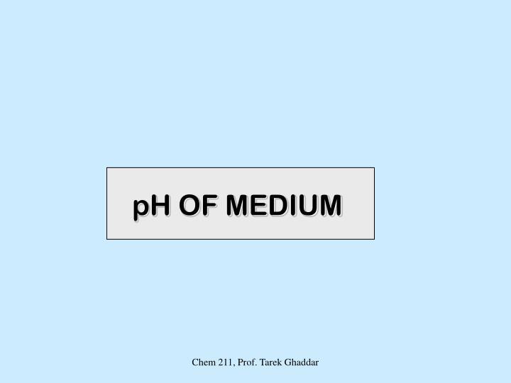 pH OF MEDIUM