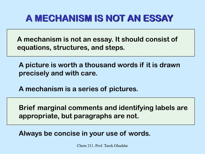 A MECHANISM IS NOT AN ESSAY