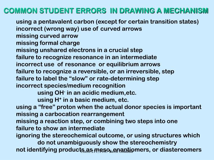COMMON STUDENT ERRORS  IN DRAWING A MECHANISM