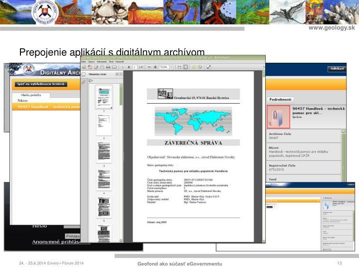 Prepojenie aplikácií s digitálnym archívom