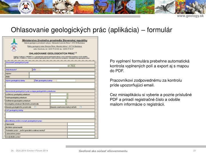 Ohlasovanie geologických prác (aplikácia) – formulár