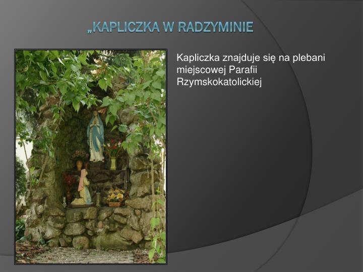 Kapliczka znajduje się na plebani miejscowej Parafii Rzymskokatolickiej