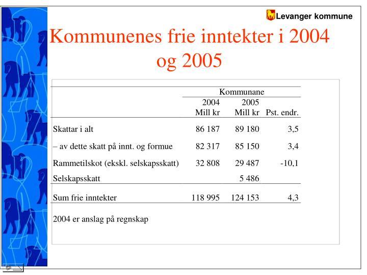 Kommunenes frie inntekter i 2004 og 2005