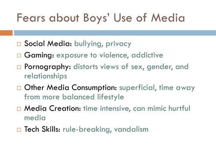 Fears about Boys' Use of Media