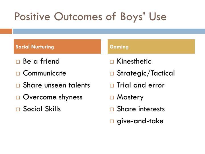 Positive Outcomes of Boys' Use
