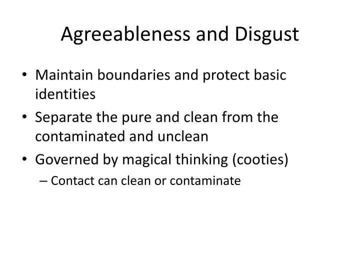 Agreeableness and disgust