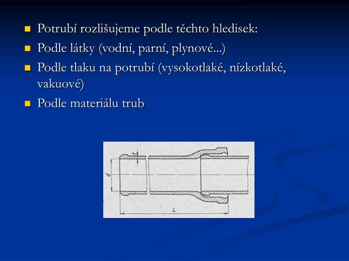 Potrubí rozlišujeme podle těchto hledisek: