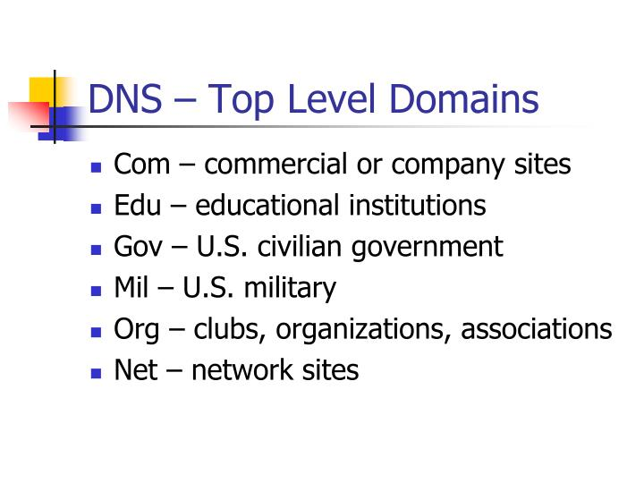 DNS – Top Level Domains