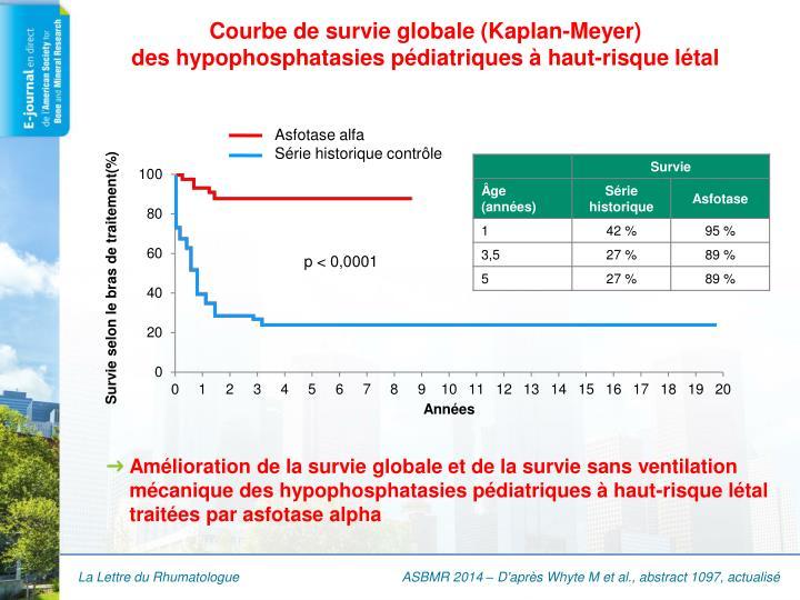 Courbe de survie globale (Kaplan-Meyer)
