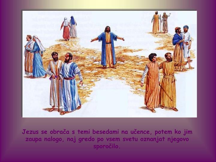 Jezus se obrača s temi besedami na učence, potem ko jim zaupa nalogo, naj gredo po vsem svetu oznanjat njegovo sporočilo.