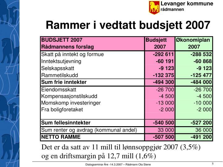 Rammer i vedtatt budsjett 2007