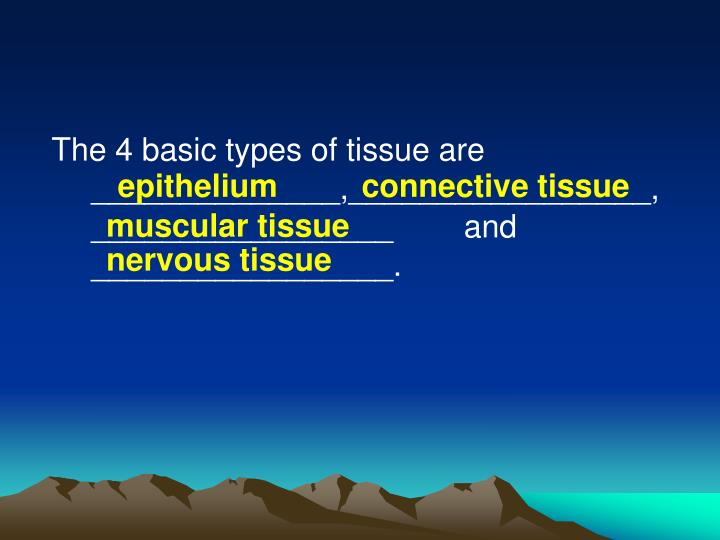 The 4 basic types of tissue are ______________,_________________,_________________        and _________________.