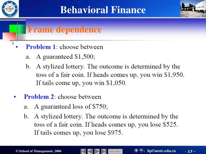 Frame dependence
