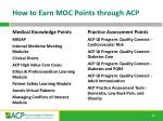 how to earn moc points through acp