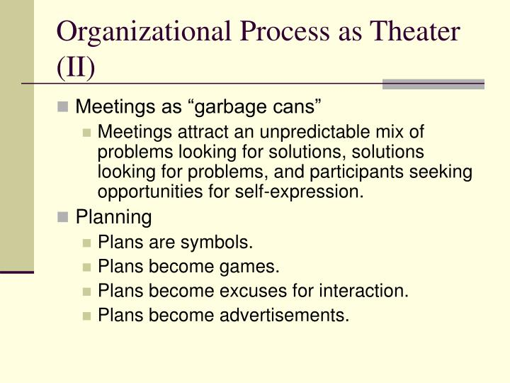 Organizational Process as Theater (II)