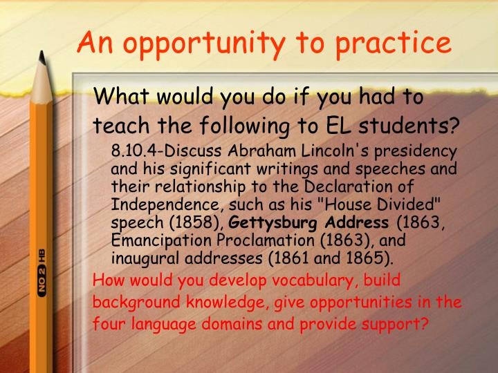 An opportunity to practice