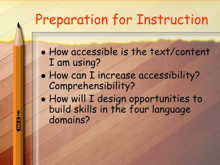 Preparation for Instruction