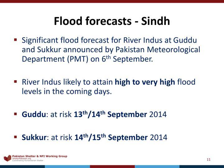 Flood forecasts - Sindh