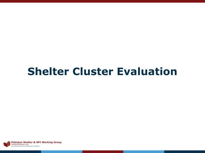 Shelter Cluster Evaluation