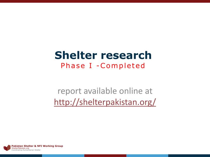 Shelter research